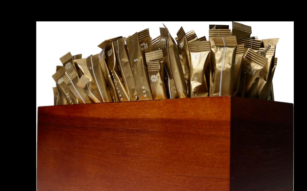 Zuckersticks in Holzbox mit Logo Marketing Ideen Kaffeebar